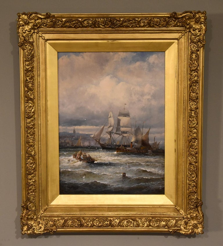 """""""Shipping off Gravesend"""" and """"Rochester near Strood"""" a pair by William Anslow Thornley. W.A Thornley flourished between 1858 and 1900 was a popular painter of coastal marines especially of the East Coast regular exhibitor both oil on canvas signed"""
