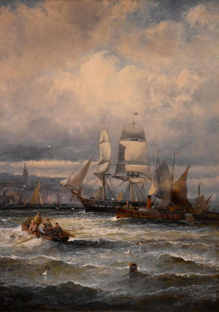 Oil Painting Seascape Coastal Marine Pair pair William Anslow Thornley 1