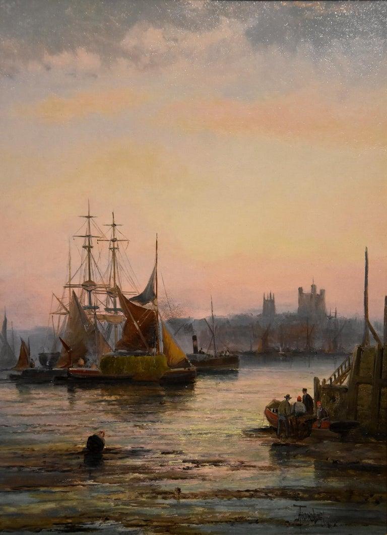 Oil Painting Seascape Coastal Marine Pair pair William Anslow Thornley 3