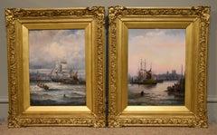 Oil Painting Seascape Coastal Marine Pair pair William Anslow Thornley