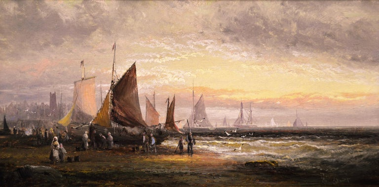 Pair of 19th Century seascape oil paintings with fishing boats - Painting by William Anslow Thornley