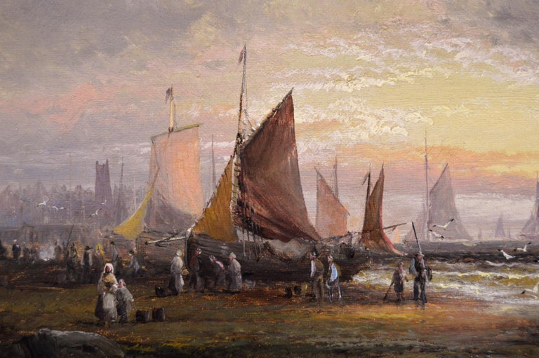Pair of 19th Century seascape oil paintings with fishing boats - Victorian Painting by William Anslow Thornley