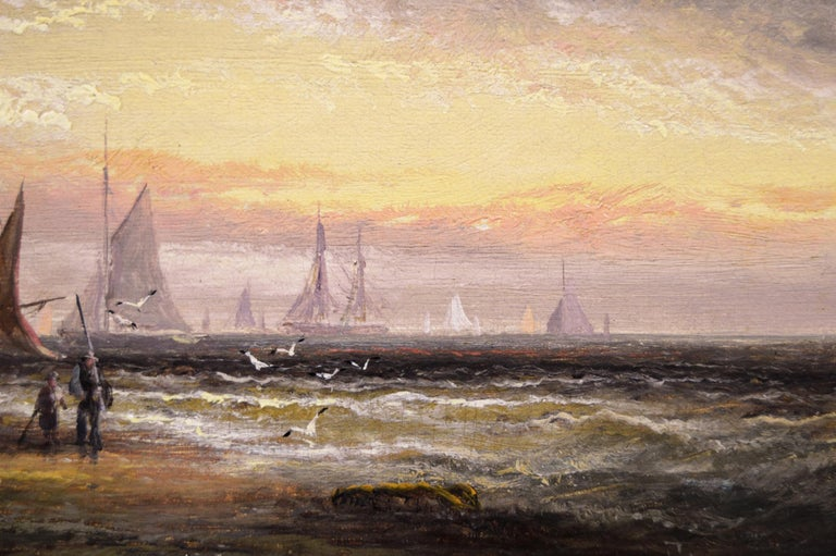 Pair of 19th Century seascape oil paintings with fishing boats - Brown Landscape Painting by William Anslow Thornley