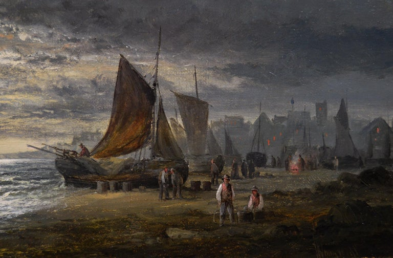 Pair of 19th Century seascape oil paintings with fishing boats 2