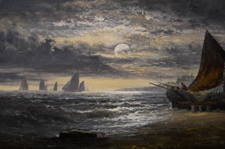 Pair of 19th Century seascape oil paintings with fishing boats 3