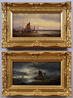Pair of 19th Century seascape oil paintings with fishing boats