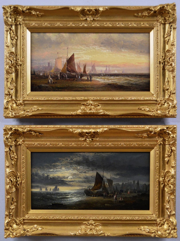William Anslow Thornley Landscape Painting - Pair of 19th Century seascape oil paintings with fishing boats
