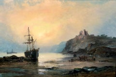St Michael's Mount, and Tantallon Castle - a pair of coastal oil paintings