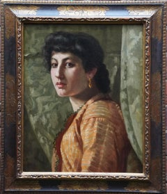 The Golden Earring - British Edwardian art female portrait oil painting