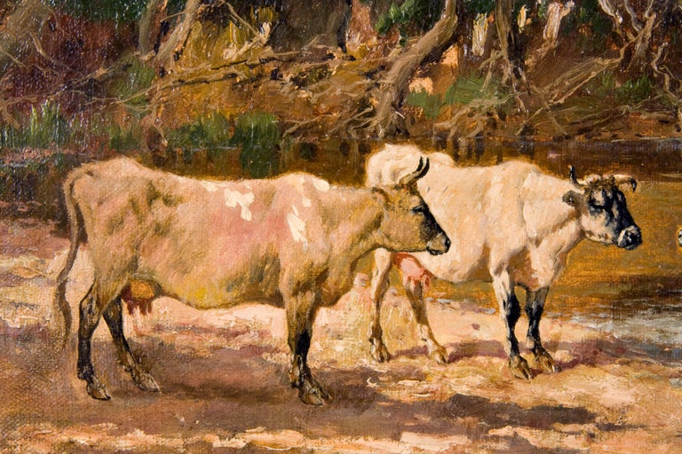 19th Century Cow Painting, by American Painter William Baird For Sale 1
