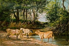 19th Century Cow Painting, by American Painter William Baird