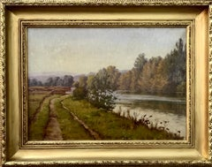 French 19th century Fall River landscape, with later afternoon sunlight
