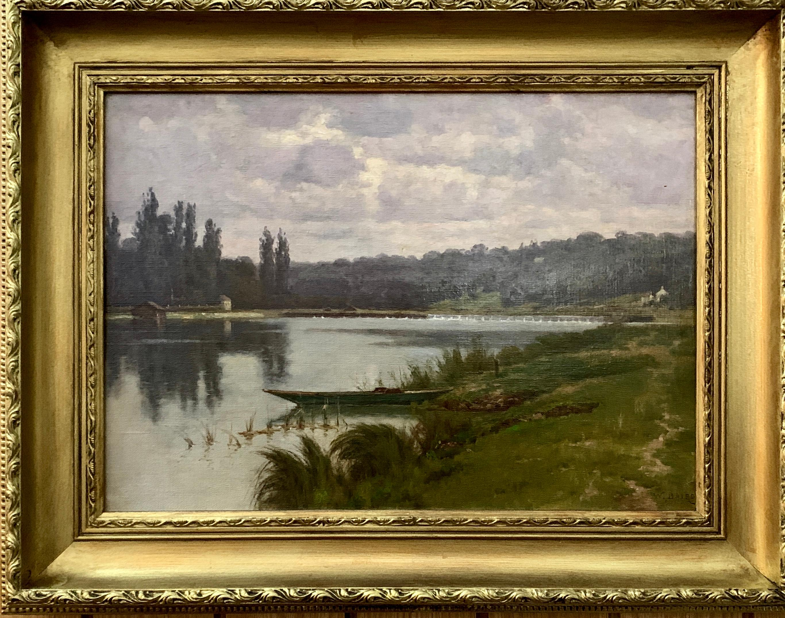 French 19th century River landscape, with cottage , punt and Wear