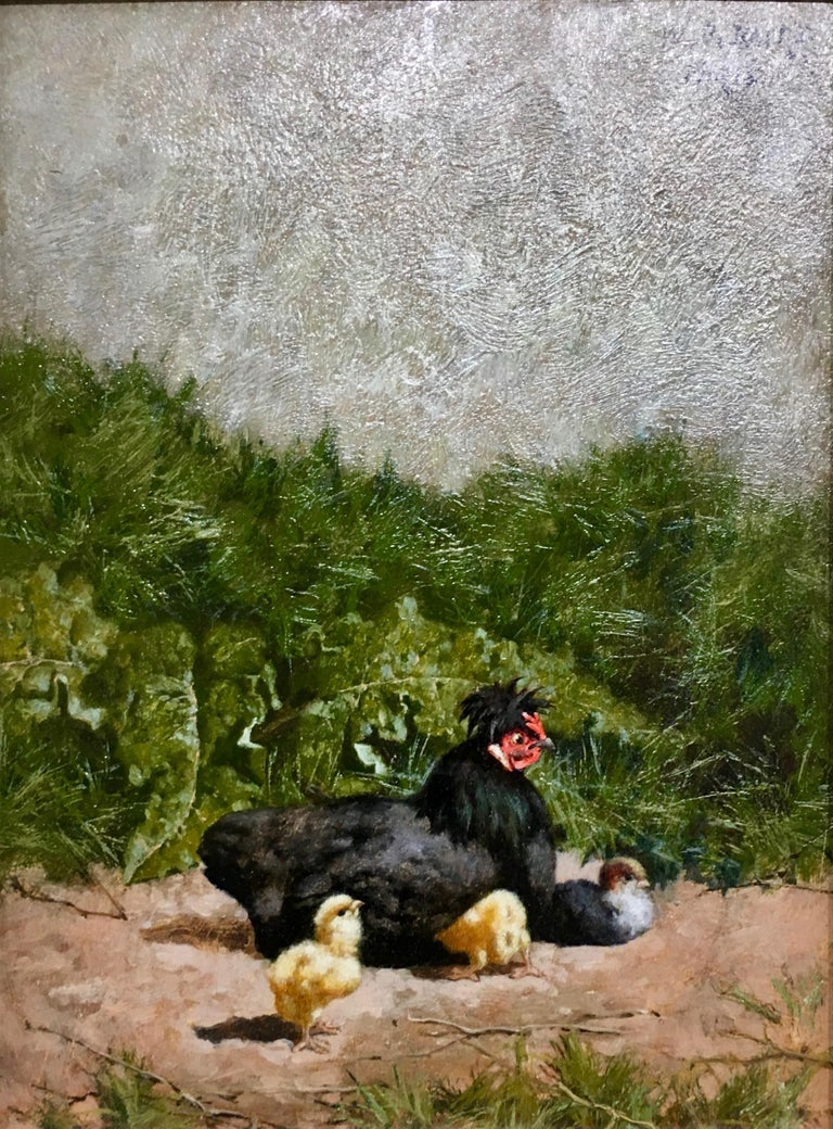 French chickens in a landscape with chicks - Painting by William Baptiste Baird