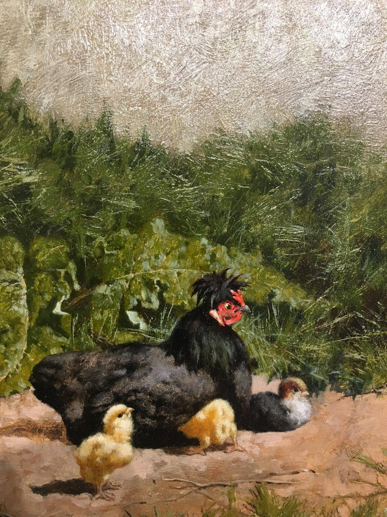 French chickens in a landscape with chicks - Brown Animal Painting by William Baptiste Baird