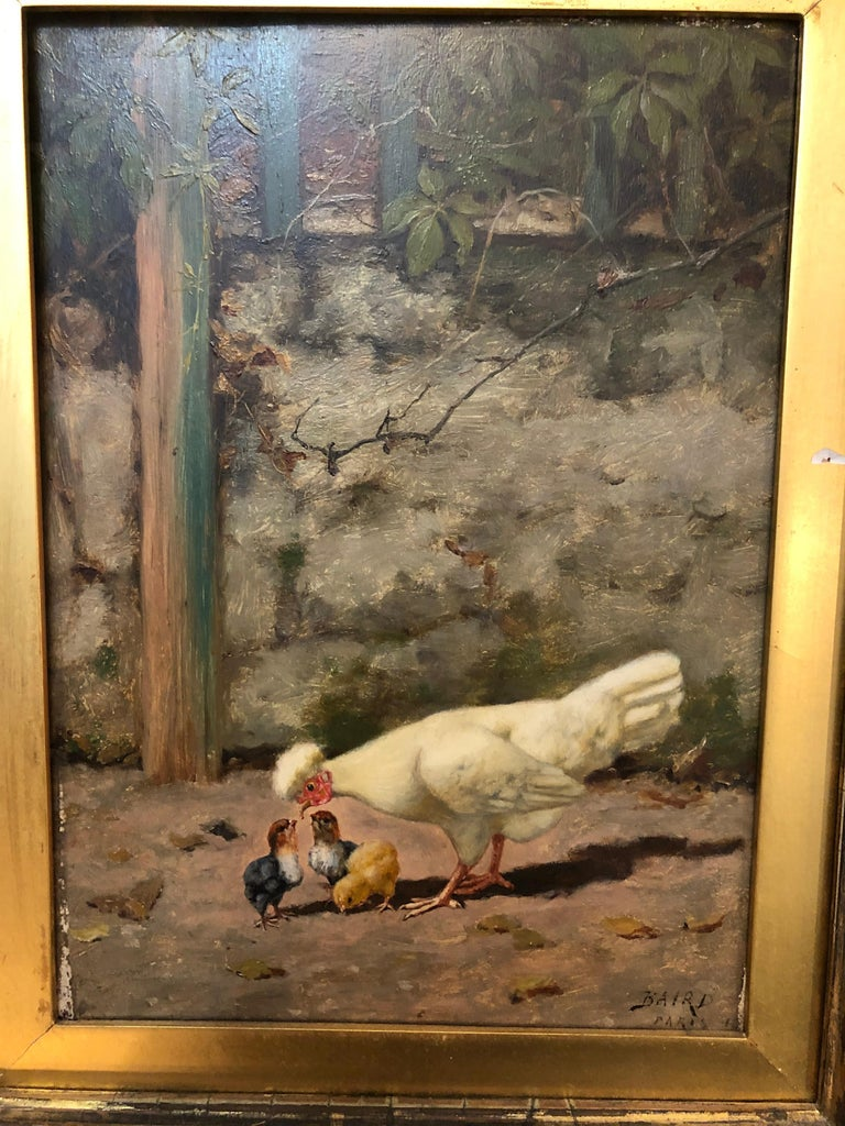 William Baptiste Baird  Mother Feeding Her Chicks - American Realist Painting by William Baptiste Baird