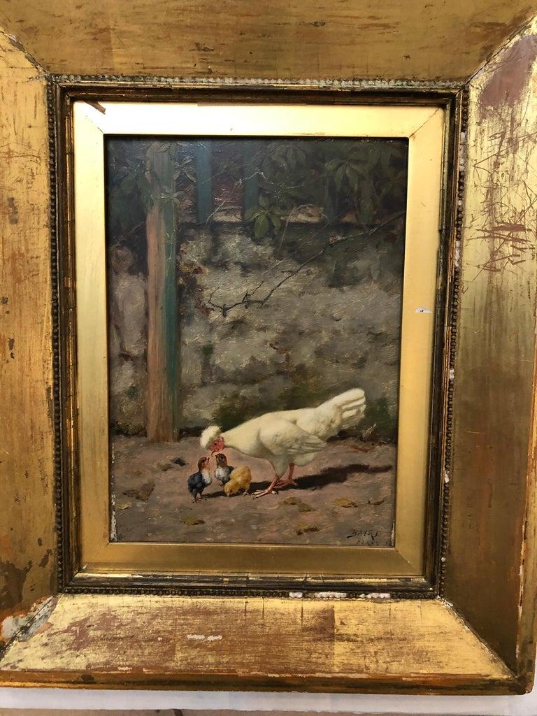 William Baptiste Baird  Mother Feeding Her Chicks - Brown Animal Painting by William Baptiste Baird