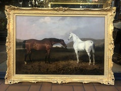 19th Century Oil Painting of Horses - Two Hunters in a Landscape