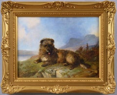 19th Century sporting animal oil painting portrait of a Cairn terrier dog