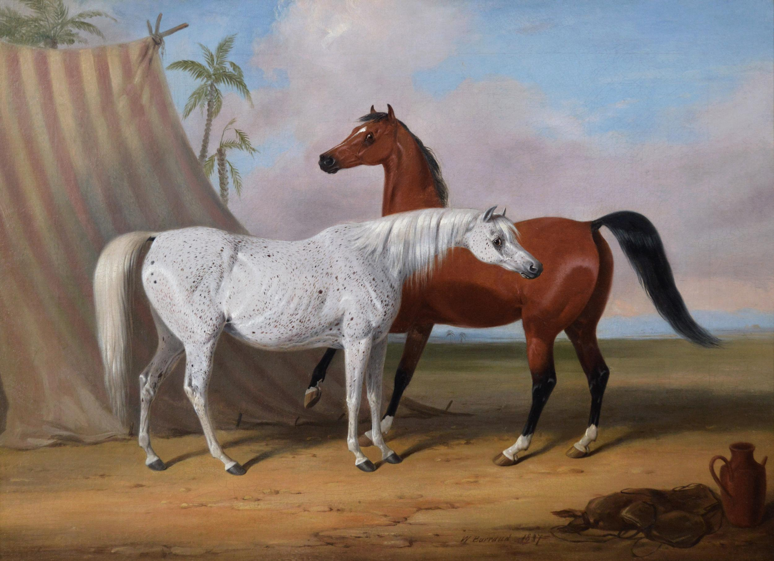 William Barraud Early 19th Century Sporting Animal Oil Painting Of Two Arabian Horses For Sale At 1stdibs