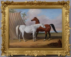 Early 19th Century sporting animal oil painting of two Arabian horses