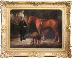 Enormous and beautiful early 19th Century painting of a Master, Hunter and Hound