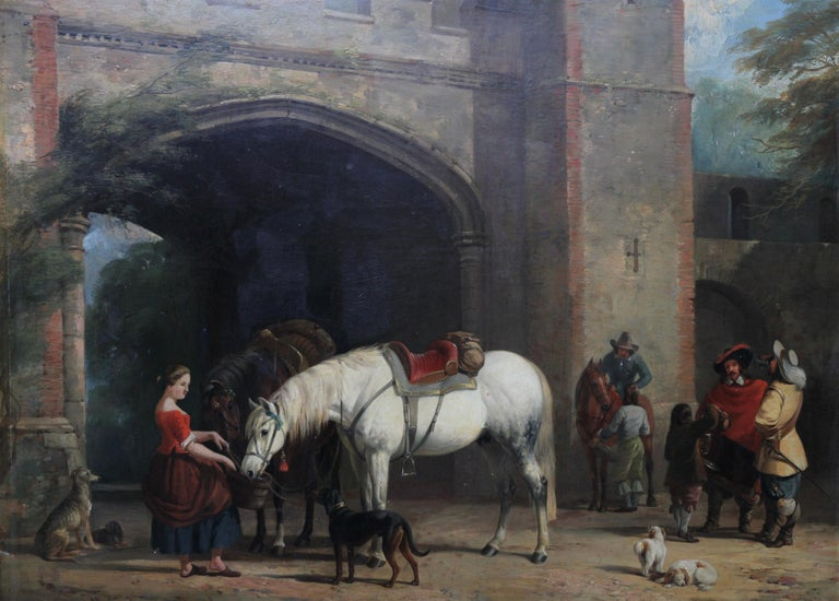 Interior of a Courtyard - British art Old Master oil painting animal artist dogs - Painting by William Barraud