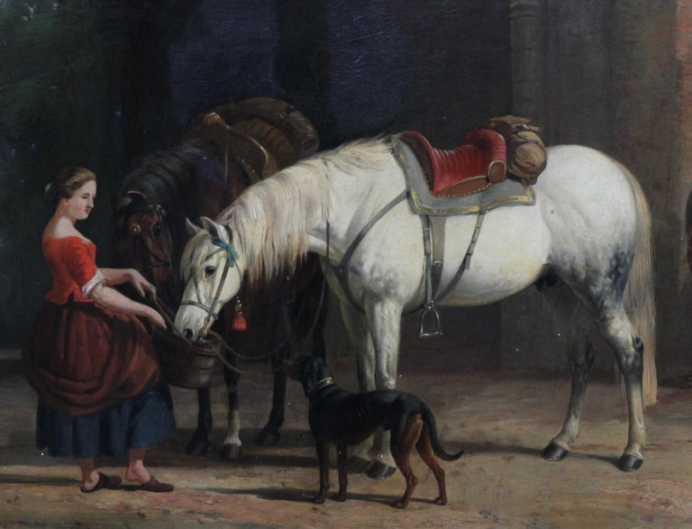 Interior of a Courtyard - British art Old Master oil painting animal artist dogs - Old Masters Painting by William Barraud