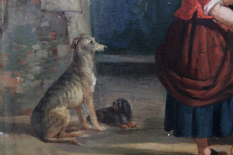 Interior of a Courtyard - British art Old Master oil painting animal artist dogs For Sale 1