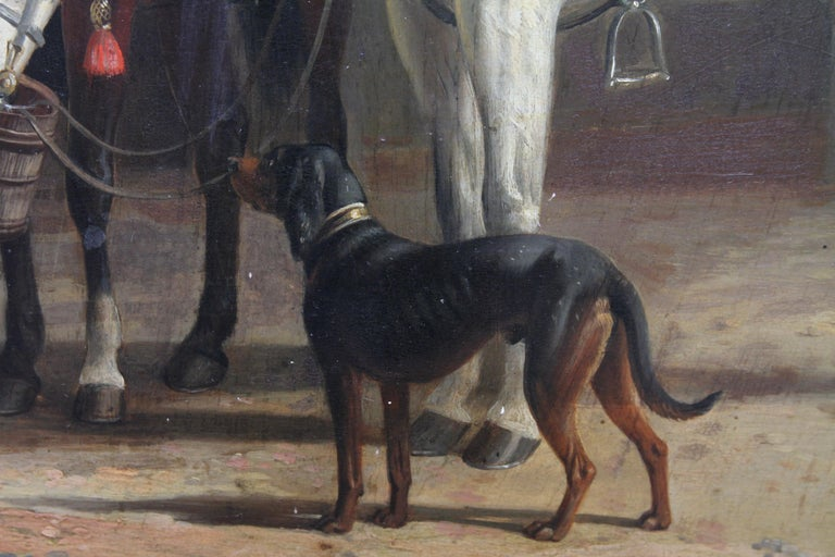 Interior of a Courtyard - British art Old Master oil painting animal artist dogs For Sale 2