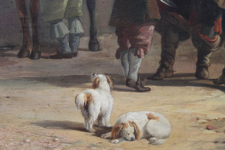 Interior of a Courtyard - British art Old Master oil painting animal artist dogs For Sale 3
