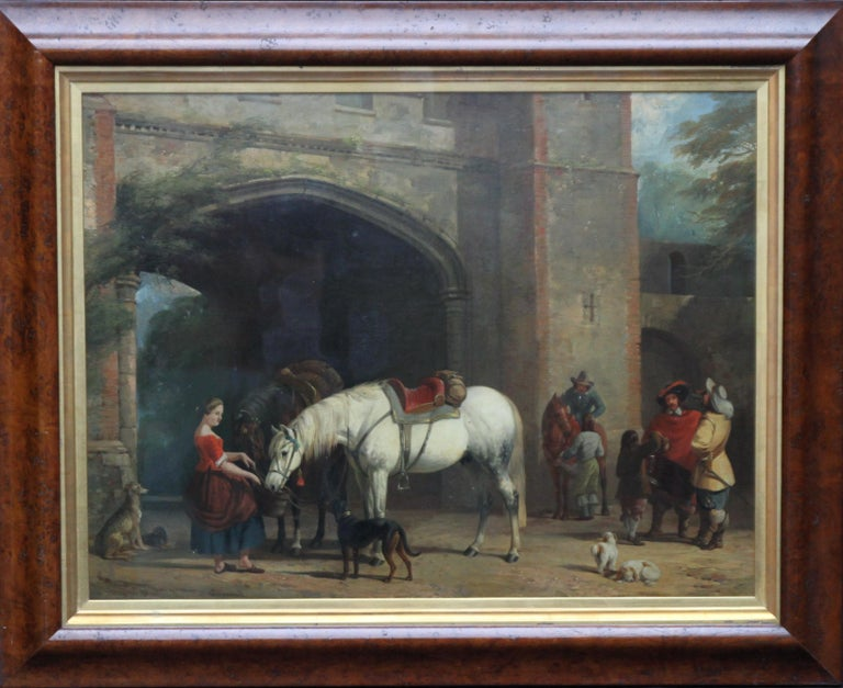 William Barraud Animal Painting - Interior of a Courtyard - British art Old Master oil painting animal artist dogs