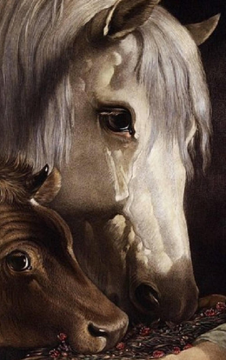 Feeding the Horse and Cow - Print by William Barraud