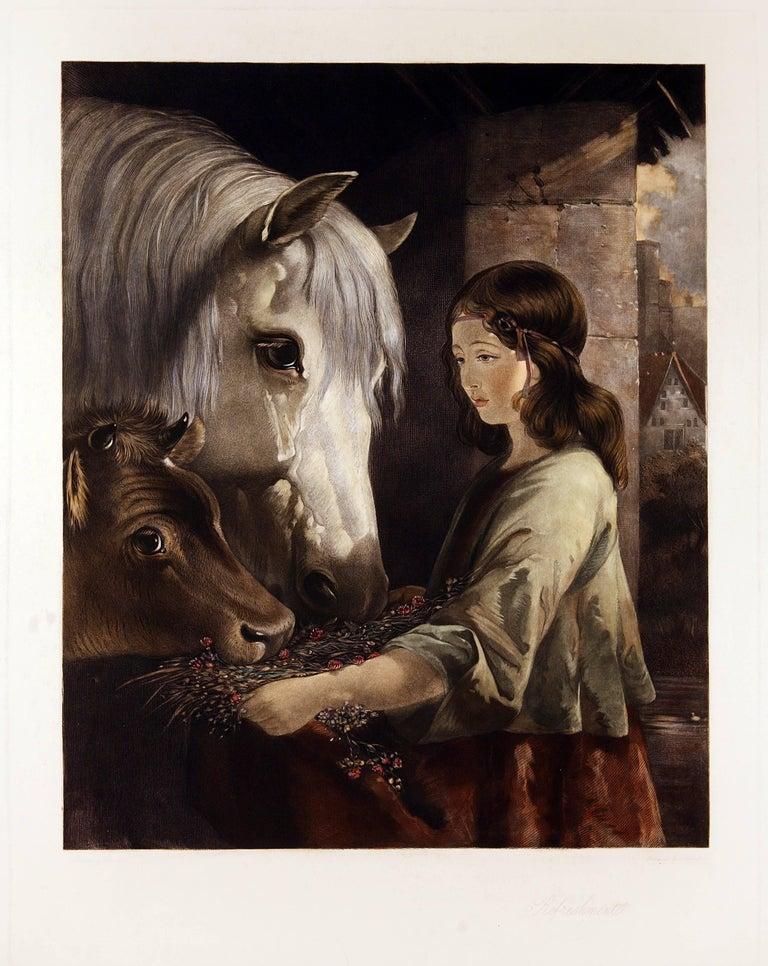 William Barraud Figurative Print - Feeding the Horse and Cow