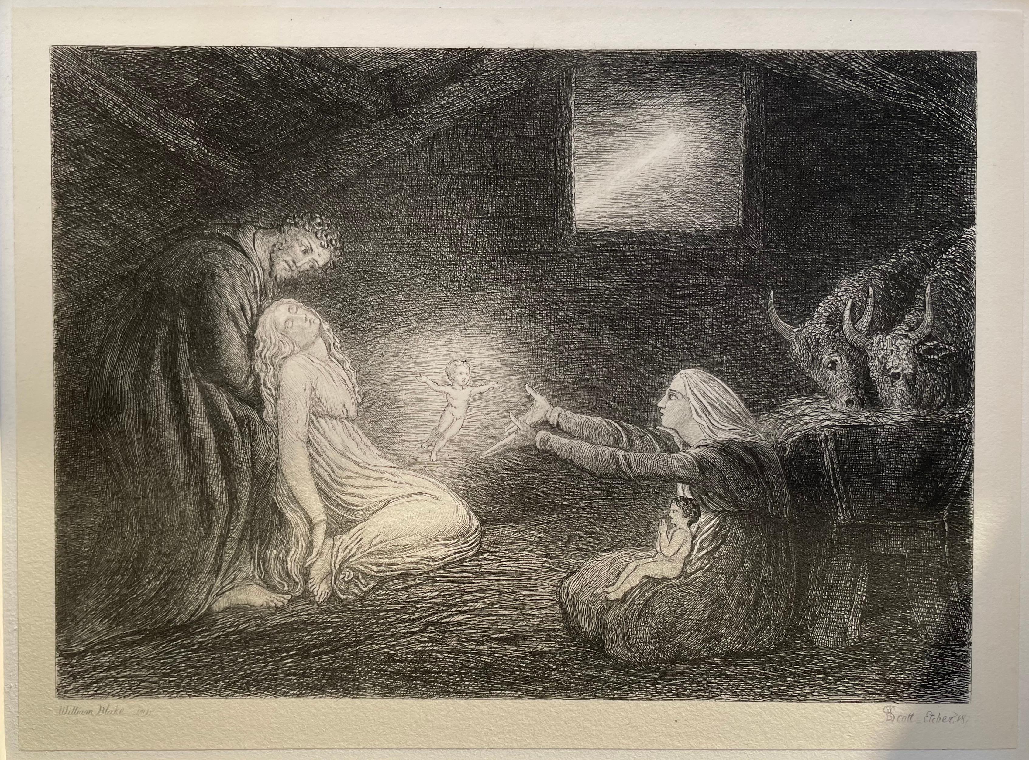 Nativity - 1870s etching by William Bell Scott after William Blake