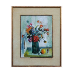 Colorful Impressionist Modern Floral Still Life Painting with Lemon and Portrait