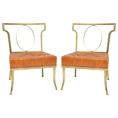 "William ""Billy"" Haines Brass and Orange Leather Chairs"