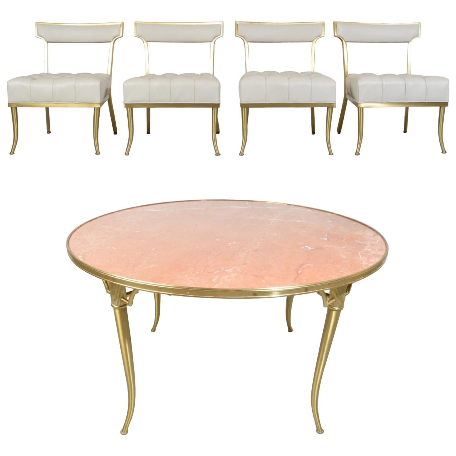 """William """"Billy"""" Haines Brass and Marble Game/Dinette Party Table and Chairs Set"""