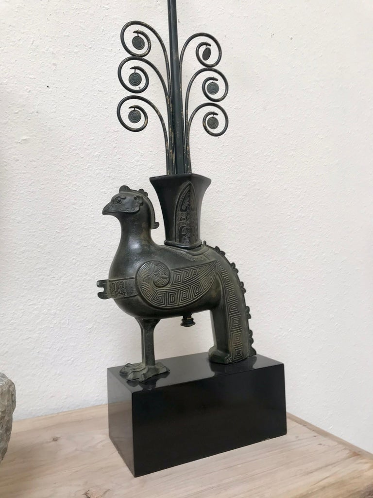 American William Billy Haines Pompeian Bronze Lamp, 1960's For Sale