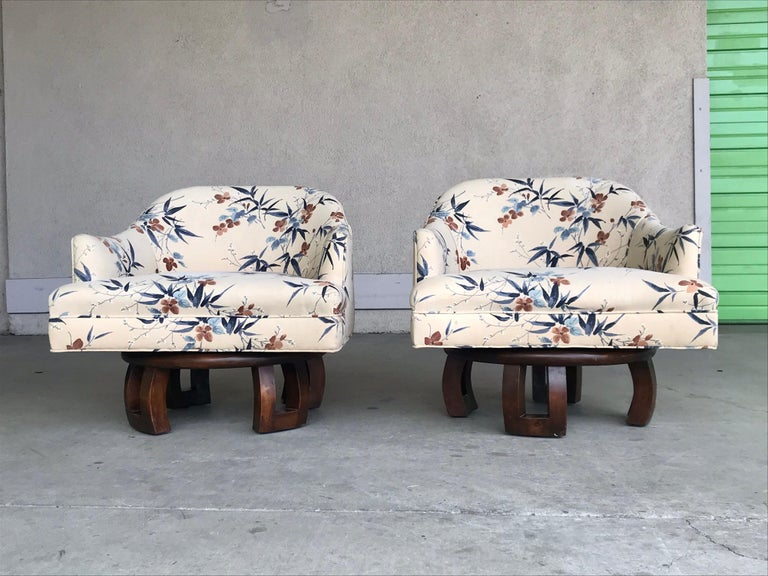 Mid-Century Modern William Billy Haines Swivel Base Lounge Chairs, 1960's For Sale