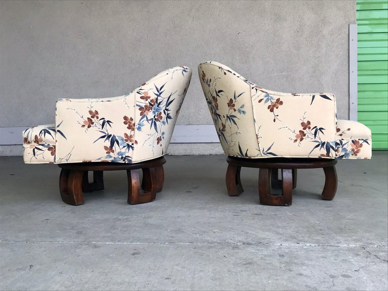 Woodwork William Billy Haines Swivel Base Lounge Chairs, 1960's For Sale