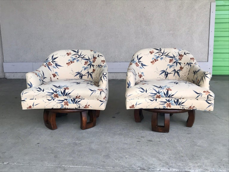 William Billy Haines Swivel Base Lounge Chairs, 1960's In Good Condition For Sale In Los Angeles, CA