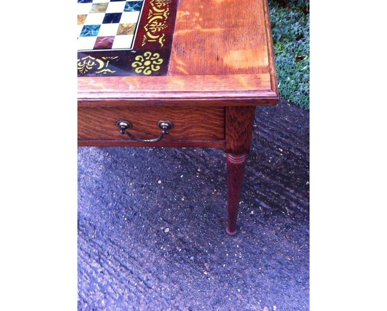 Hand-Crafted William Birch for Liberty & Co. a Good Quality Arts & Crafts Oak Chess Table For Sale