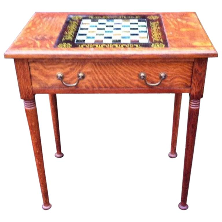 William Birch for Liberty & Co. a Good Quality Arts & Crafts Oak Chess Table For Sale