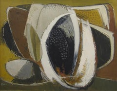 Mid-century abstract oil painting by American artist William Bishop Owen Jr.