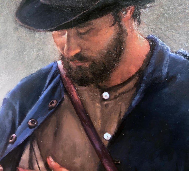Incredulity -American Civil War Soldier, After Caravaggio, Original Oil on Linen - Black Figurative Painting by William Blake