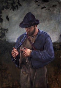 Incredulity -American Civil War Soldier, After Caravaggio, Original Oil on Linen