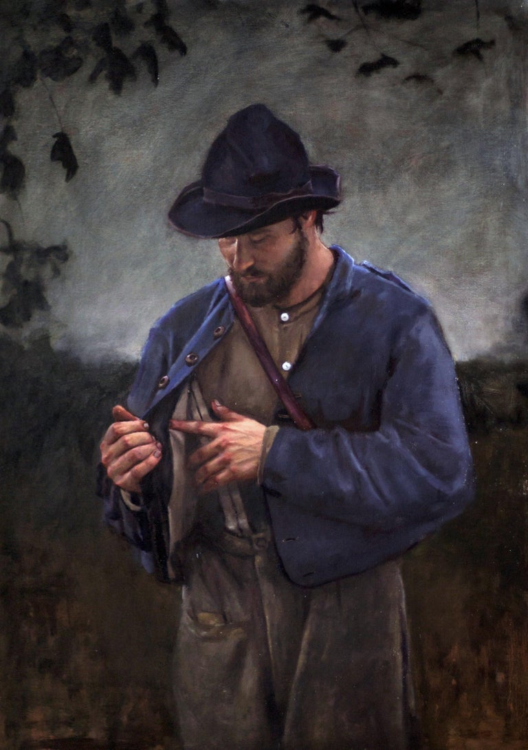 William Blake Figurative Painting - Incredulity -American Civil War Soldier, After Caravaggio, Original Oil on Linen