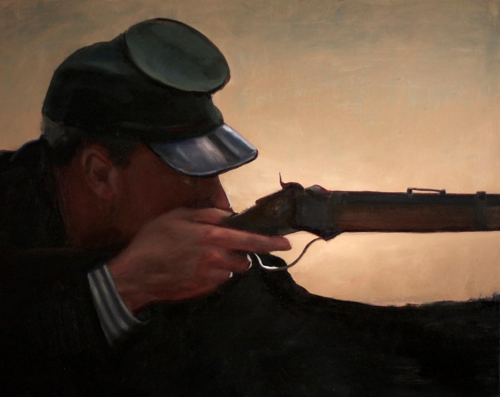 Sharp Shooter, Homage to Civil War Artist Winslow Homer, Original Oil on Linen