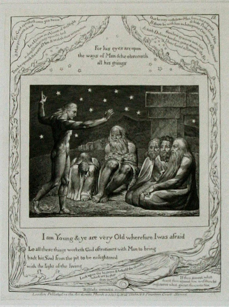 William Blake Figurative Print - The Wrath of Elihu: 'I Am Young, And Ye Are Very Old, Wherefore I Was Afraid.'